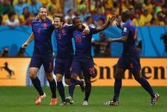 Ron Vlaar , Daley Blind , Georginio Wijnaldum and Bruno Martins Indi Coupe du monde 2014 Stock Images
