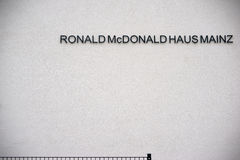 Ronald Mc Donald House Mainz. Mainz, Germany - April 20, 2017: The facade and the logo of the Ronald Mc Donald house a children`s facility for disabled children stock image