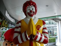 Ronald McDonald in Bangkok. In front of all the McDonald`s is Bangkok you are welcomed by this respectful Ronald McDonald Stock Photos
