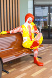 Ronald McDonald character sitting on the bench at McDonald Resta Royalty Free Stock Photos