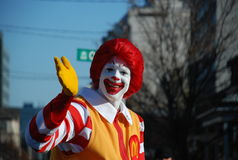Ronald McDonald at Santa Clause parade Royalty Free Stock Image