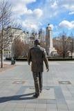 Ronald Reagan statua z USA ambasadą i Radziecką wojenną notatką zdjęcie stock