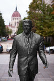 Ronald Reagan Statue and Budapest Parliament Building Royalty Free Stock Photo
