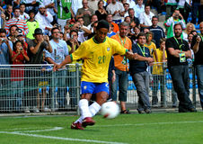 Ronaldinho. Brasil's Ronaldinho during the International Friendly soccer match, Brasil vs Algeria, in La Mosson Stadium in Montpellier, France, on August 22 royalty free stock photos