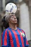 Ronaldinho, figura humana Ramblas en Barcelona imagenes de archivo