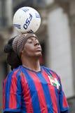 Ronaldinho, human figure Ramblas in Barcelona stock images
