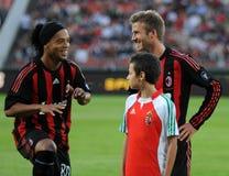 Ronaldinho y Beckham Fotografía de archivo