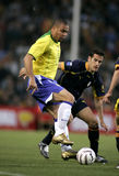 Ronaldo. Brazilian player Ronaldo in action during the friendly match between Catalonia vs Brazil at Nou Camp Stadium in Barcelona, Spain. May 25, 2004 Royalty Free Stock Photography