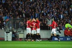 Ronaldo Celebrates. Cristiano Ronaldo Celebrates his Goal and Manchester's qualification to the 2009 UEFA Champions League Semi-Final in Porto, Portugal stock photography