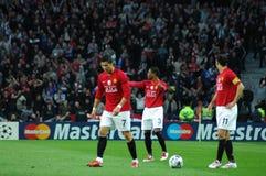Ronaldo, Evra en Giggs Stock Fotografie