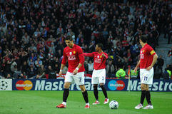 Ronaldo, Evra and Giggs. Play to qualify to the 2009 UEFA Champions League Semi-Finals in Porto, Portugal Stock Photography