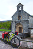 Roncesvalles begin of Way of Sain James biking Royalty Free Stock Image
