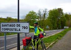 Roncesvalles begin of Way of Sain James biking stock photography
