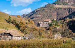Castel Roncolo near Bolzano, in the region of Trentino Alto Adige, in Italy. Roncolo Castle is a medieval fortification on a rocky spur in the territory of royalty free stock image