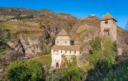 Castel Roncolo near Bolzano, in the region of Trentino Alto Adige, in Italy. Roncolo Castle is a medieval fortification on a rocky spur in the territory of stock photos