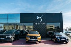 View of the DS brand car showroom and logo. royalty free stock images