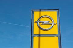 View of the Opel brand logo. RONCQ,FRANCE-February 20,2019:View of the Opel brand logo.Opel Automobile GmbH is a German company dealing in the production of royalty free stock photography