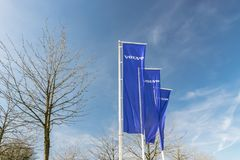 View of the Volvo brand logo on the flags. RONCQ,FRANCE-February 20,2019:View of the Volvo brand logo on the flags.Volvo Car Corporation is a Swedish company stock images