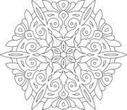 Rond asymmetrisch decoratief element - kantmandala in zentangl vector illustratie