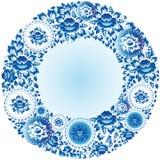 Rond blauw bloemenkader voor uw ontwerp Vector Royalty-vrije Stock Foto's