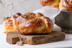 Rond Challah-brood royalty-vrije stock foto's