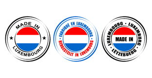 ` Rond de label fait au ` du Luxembourg avec le drapeau Photos stock