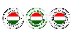 ` Rond de label fait dans le ` de la Hongrie avec le drapeau Photographie stock