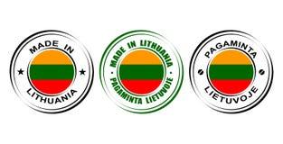 ` Rond de label fait dans le ` de la Lithuanie avec le drapeau Photographie stock libre de droits