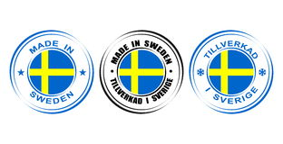 ` Rond de label fait dans le ` de la Suède avec le drapeau Image stock