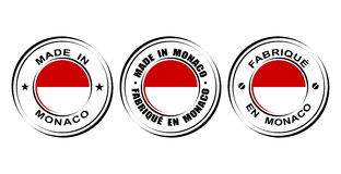 ` Rond de label fait dans le ` du Monaco avec le drapeau Photos libres de droits