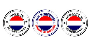 ` Rond de label fait dans le ` néerlandais avec le drapeau Image libre de droits