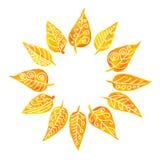 Rond die kader van gevormde bladeren wordt gemaakt Stock Afbeelding