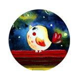 Rond embleem met een vogel stock illustratie