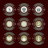 Rond embleem met Kerstmissymbolen, reeks Royalty-vrije Stock Fotografie