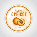 Rond etiket van vruchten op waterverfachtergrond, abrikoos Stock Afbeelding