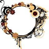 Rond Frame Grunge met Arabesques Royalty-vrije Stock Afbeeldingen