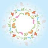 Rond frame met bloemenelementen Stock Afbeelding