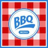 Rond gemaakt barbecueetiket op patroonachtergrond Stock Foto