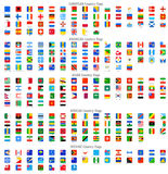Rond gemaakte Vierkante Vector Nationale vlagpictogrammen Stock Afbeeldingen