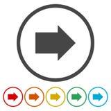Rond gemaakte volgende pijl of juist richting de kunstpictogram van de pijllijn voor apps en websites stock illustratie