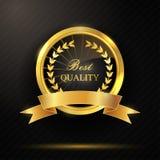 Rond gouden beste kwaliteitskenteken met lint Stock Afbeelding