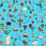 Rond het Wereld naadloze patroon in kleuren op blauwe achtergrond stock afbeelding