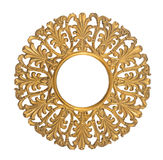 Rond houten gouden ornament stock foto