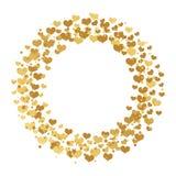 Rond kader met gouden die confettienharten, sterren en cirkels op witte achtergrond worden geïsoleerd stock illustratie
