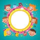 Rond kader met groep kinderen vector illustratie