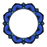 Rond kader met hand getrokken waterverfkrabbels blauwe stammen etnische achtergrond met ruimte voor tekst Stock Afbeelding