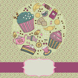 Rond kader met theedingen en snoepjes Stock Afbeeldingen