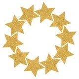Rond kader van gouden glanzende sterren op een witte achtergrond stock fotografie