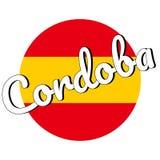 Rond knooppictogram van nationale vlag van Spanje met rode en gele kleuren en inschrijving van stadsnaam: Cordoba in modern vector illustratie