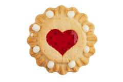 Rond koekje met een hart van jam royalty-vrije stock afbeelding